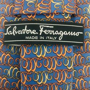 "Salvatore Ferragamo Silk Tie: Cursive Ovals ""2000"""